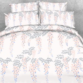 Designer Pink Strings of Gray Leaves Printed Polyester 4-Piece Bedding Sets/Duvet Cover