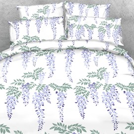 Designer Purple Strings of Green Leaves Printed Polyester 4-Piece Bedding Sets/Duvet Cover
