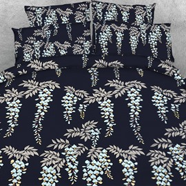 Designer Dreamy Strings of Leaves Printed Polyester 4-Piece Bedding Sets/Duvet Cover