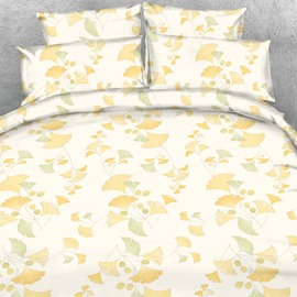 Designer Yellow and Green Ginkgo Leaves Printed Polyester 4-Piece Bedding Sets/Duvet Cover