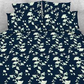 Designer Silver Ginkgo Leaves Printed Dark Blue Polyester 4-Piece Bedding Sets/Duvet Cover