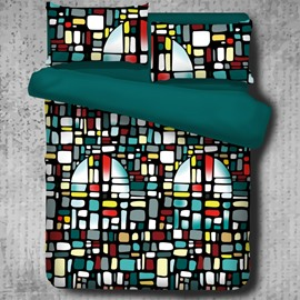 Metropolis Multi-Color Glazed Bricks Buildings Polyester 4-Piece Bedding Sets/Duvet Cover