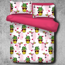 Sweet Pineapples Summer Seaside Party Casual Style Polyester 4-Piece Bedding Sets/Duvet Cover