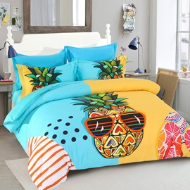 Cool Pineapples Holiday Seaside Leisure Casual Style Polyester 4-Piece Bedding Sets/Duvet Cover