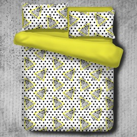 Pineapples with Yellow Triangles and Black Spots Polyester 4-Piece Bedding Sets/Duvet Cover