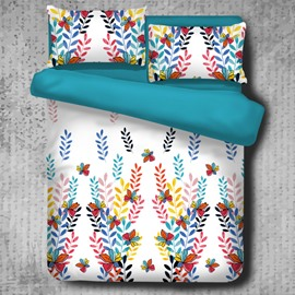 Colorful Butterflies and Leaves Strings Pattern 4-Piece Polyester Bedding Sets/Duvet Cover