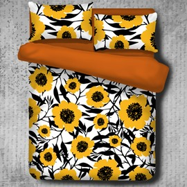 Yellow Sunflowers Pattern Pastoral Style 4-Piece Polyester Bedding Sets/Duvet Cover