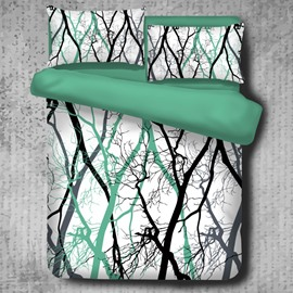 Tree Branches Pattern Light Green 4-Piece Polyester Bedding Sets/Duvet Cover