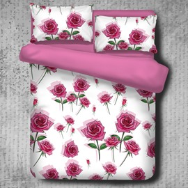Bunches of Roses Pattern Romantic Purple 4-Piece Polyester Bedding Sets/Duvet Cover