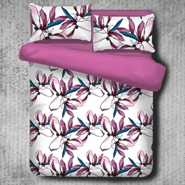 Gorgeous Colorful Magnolia Printed High Thread Count 4-Piece Polyester Bedding Sets/Duvet Cover