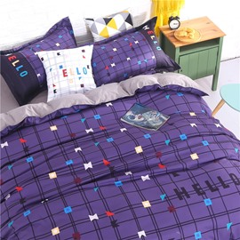 Purple Geometric Plaid Pattern 4-Piece Polyester Bedding Sets/Duvet Cover