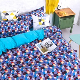 Colorful Geometric Grid 4-Piece Polyester Bedding Sets/Duvet Cover