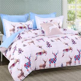 Deer Shape Plaids Combination Design Pattern Polyester 4-Piece Bedding Sets/Duvet Cover