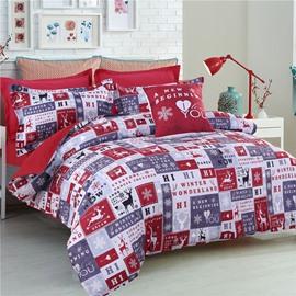 Winter Wonderland with Deer Snowflake Pattern Polyester 4-Piece Bedding Sets/Duvet Cover
