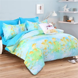 Watercolor Painting Yellow Ginkgo Leaves Pattern Polyester 4-Piece Bedding Sets/Duvet Cover