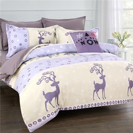 Chic Cartoon Deer and Snowflake Pattern Polyester 4-Piece Bedding Sets/Duvet Cover