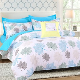 Shallow Maple Leaves Pattern Polyester 4-Piece Bedding Sets/Duvet Cover