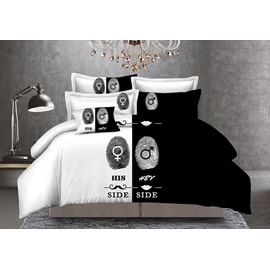 Lovers Fingerprints Black and White Blocking 3-Piece Polyester Bedding Sets/Duvet Cover