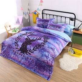 Dreamy Purple Wonderland with Reindeer Pattern Polyester 4-Piece Bedding Sets/Duvet Cover