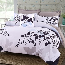 Black Leaves Branches Pattern Polyester 4-Piece Bedding Sets/Duvet Cover