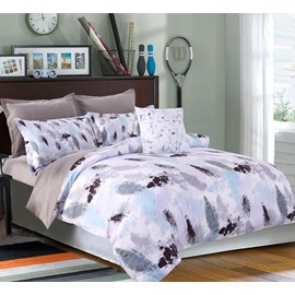 Abstract Scrawl Grey and Black Pattern 4-Piece Polyester Bedding Sets/Duvet Cover