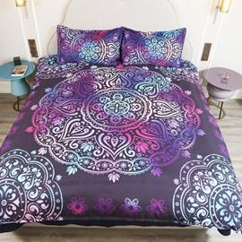 Paisley Bohemian Style Dark Purple Pattern 4-Piece Bedding Sets/Duvet Cover