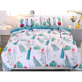 Green Cactus Style Pattern 4-Piece Bedding Sets/Duvet Cover