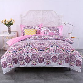 Pink Mandala Bohemian Style Pattern 4-Piece Bedding Sets/Duvet Cover