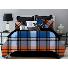 Blue Geometric Plaid Pattern Polyester 4-Piece Bedding Sets/Duvet Cover