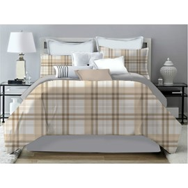 Khaki Plaid Warm Tones Pattern Polyester 4-Piece Bedding Sets/Duvet Cover