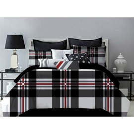 Black Tone Geometric Plaid Pattern Polyester 4-Piece Bedding Sets/Duvet Cover