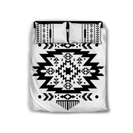 Black and White Folk Geometry Polyester 4-Piece Bedding Sets/Duvet Cover