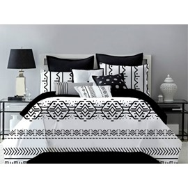 Black and White Style Polyester 4-Piece Bedding Sets/Duvet Cover