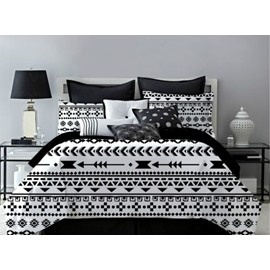 Black and White Classic Flower Pattern Polyester 4-Piece Bedding Sets/Duvet Cover