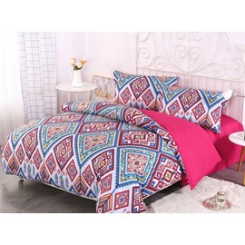 Red and Blue Paisley Bohemian Style Pattern 4-Piece Bedding Sets/Duvet Cover
