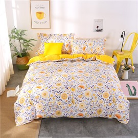 Fresh Style Floral 4-Piece Yellow Bedding Sets/Duvet Cover
