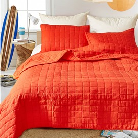 Polyester Material Three-Piece Set Grid Pattern Bedding Sets