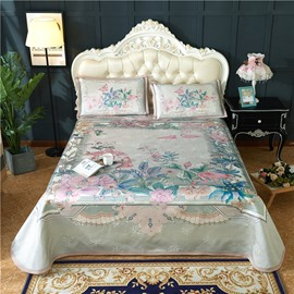 Flamingo with Flowers Polyester Grey Digital Printing 3-Piece Summer Sleeping Mat Sets