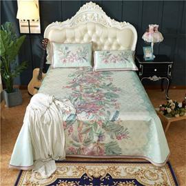 Flower Blooming Jacquard Pattern Printing Green 3-Piece Polyester Summer Sleeping Mat Sets