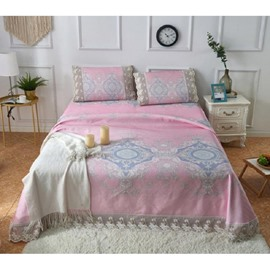 Geometric Pattern Pink Printing Lace 3-Piece Polyester Summer Sleeping Mat Sets
