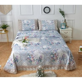 Floral &Geometric Pattern Polyester Lace Printing 3-Piece Summer Sleeping Mat Sets