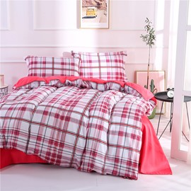 Red Stripes and Checked Pattern Polyester 4-Piece Bedding Sets/Duvet Cover