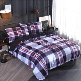 Checked & Striped Pattern Printing Polyester 4-Piece Bedding Sets/Duvet Cover