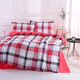 Red and Black Checked & Stripe Pattern Polyester 4-Piece Bedding Sets/Duvet Cover