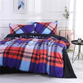 Multi-colored Stripe & Checked Printing Polyester 4-Piece Bedding Sets/Duvet Cover