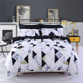 Geometric Marble Pattern Polyester White& Black 4-Piece Bedding Sets/Duvet Cover