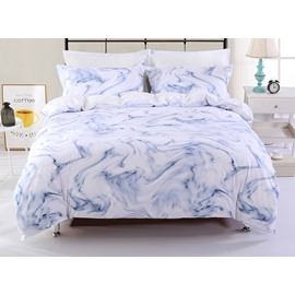Marble Design White Printing Polyester 4-Piece Bedding Sets/Duvet Cover