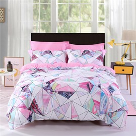 Pink Marble Pattern Printing Polyester 4-Piece Bedding Sets/Duvet Cover