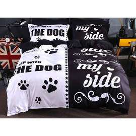 Lovers Black&White The Dog and My Side Polyester 4-Piece Bedding Sets/Duvet Cover