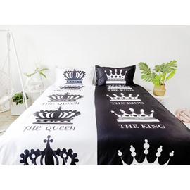 Lovers The Queen & The King Design Black & White 4-Piece Polyester Bedding Sets/Duvet Cover